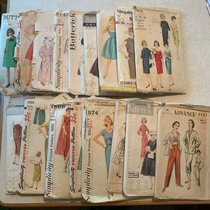17 Vintage sewing pattern lot 1940 - 1950 - 1960